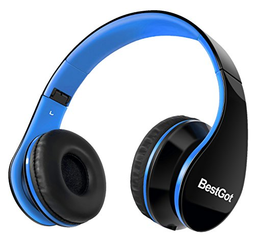 bestgot wired kids headphones for kids boys adult with microphone in line volume included cloth bag foldable headset with 35mm plug removable cord blackblue photo 001 - BestGot Wired Kids Headphones for Kids Boys Adult with Microphone in-line Volume Included Cloth Bag Foldable Headset with 3.5mm Plug Removable Cord (Black/Blue)