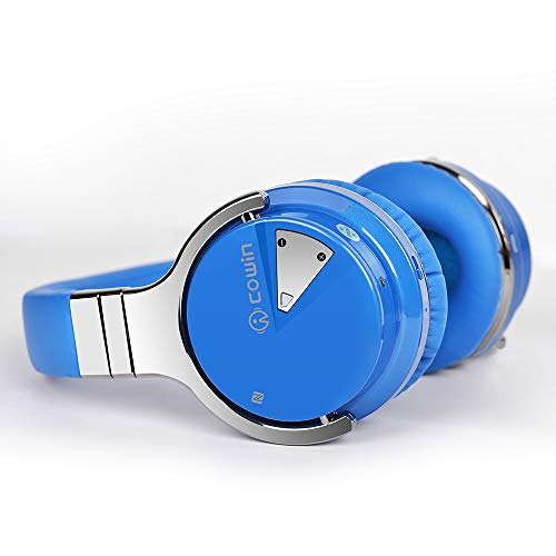 COWIN E7 Active Noise Cancelling Bluetooth Headphones with Microphone Wireless Headphones Over Ear, 30H Playtime for Travel/Work/TV/Computer/Cellphone – Blue