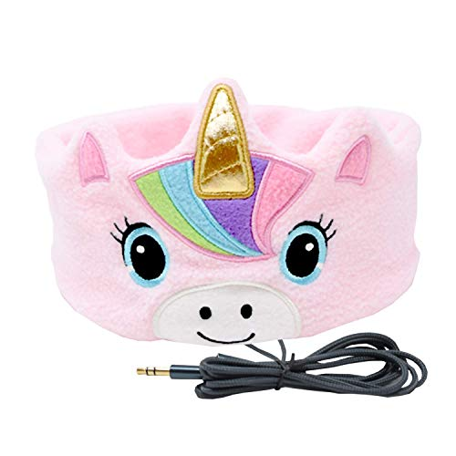 cozyphones kids headphones volume limited with ultra thin speakers soft fleece headband perfect childrens earphones for home and travel pink rainbow unicorn photo 01 - CozyPhones Kids Headphones Volume Limited with Ultra-Thin Speakers Soft Fleece Headband - Perfect Children's Earphones for Home and Travel - Pink Rainbow Unicorn