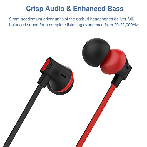 earbuds vogek ergonomic bass stereo in ear headphones earphones with 47 inch tangle free cord sml eartips compatible with samsung android phone and more black red photo 01 - Earbuds, Vogek Ergonomic Bass Stereo in-Ear Headphones Earphones with 47 Inch Tangle-Free Cord, S/M/L Eartips Compatible with Samsung, Android Phone and More (Black-Red)