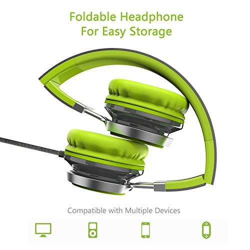 Elecder i39 Headphones with Microphone Foldable Lightweight Adjustable On Ear Headsets with 3.5mm Jack for iPad Cellphones Computer MP3/4 Kindle Airplane School Green/Gray