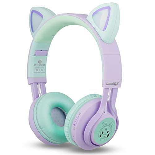 kids headphones riwbox ct 7s cat ear bluetooth headphones 85db volume limitingled light up kids wireless headphones over ear with microphone for iphoneipadkindlelaptoppctv purplegree image 02 - Kids Headphones, Riwbox CT-7S Cat Ear Bluetooth Headphones 85dB Volume Limiting,LED Light Up Kids Wireless Headphones Over Ear with Microphone for iPhone/iPad/Kindle/Laptop/PC/TV (Purple&Green)