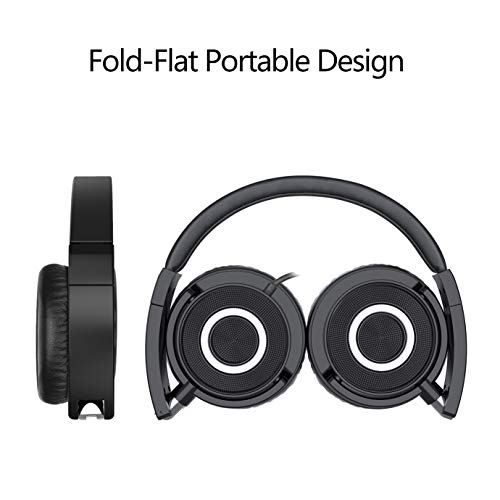 on ear headphones with mic vogek lightweight portable fold flat stereo bass headphones with 15m tangle free cord and microphone black image 01 - On Ear Headphones with Mic, Vogek Lightweight Portable Fold-Flat Stereo Bass Headphones with 1.5M Tangle Free Cord and Microphone-Black