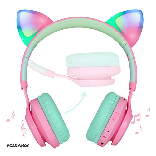 riwbox bluetooth headphones riwbox ct 7 cat ear led light up wireless foldable headphones over ear with microphone and volume control for iphoneipadsmartphoneslaptoppctv pinkgreen image 1 - Riwbox Bluetooth Headphones, Riwbox CT-7 Cat Ear LED Light Up Wireless Foldable Headphones Over Ear with Microphone and Volume Control for iPhone/iPad/Smartphones/Laptop/PC/TV (Pink&Green)