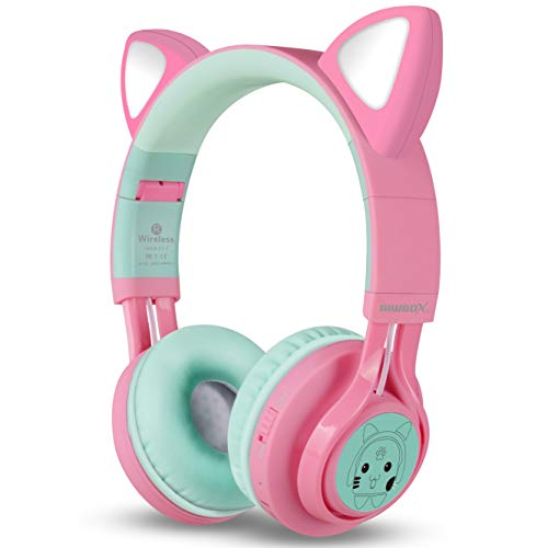 riwbox bluetooth headphones riwbox ct 7 cat ear led light up wireless foldable headphones over ear with microphone and volume control for iphoneipadsmartphoneslaptoppctv pinkgreen image 2 - Riwbox Bluetooth Headphones, Riwbox CT-7 Cat Ear LED Light Up Wireless Foldable Headphones Over Ear with Microphone and Volume Control for iPhone/iPad/Smartphones/Laptop/PC/TV (Pink&Green)