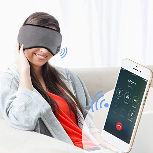 Sleep Headphones Bluetooth 5.0 Wireless Eye Mask – Homder Headphones Travel Sleeping Headband Built-in Speakers Microphone Handsfree Adjustable Washable (Grey)