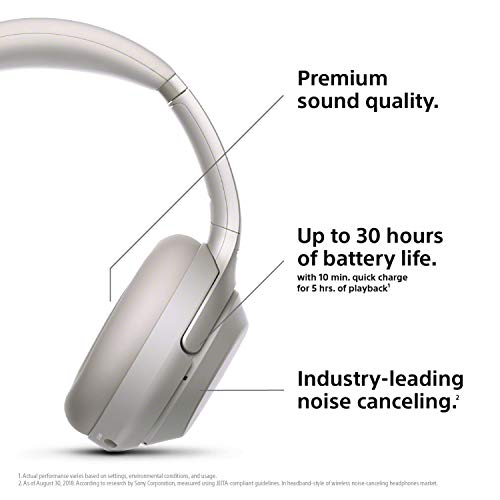 sony noise cancelling headphones wh1000xm3 wireless bluetooth over the ear headphones with mic and alexa voice control industry leading active noise cancellation silver image 001 - Sony Noise Cancelling Headphones WH1000XM3: Wireless Bluetooth Over the Ear Headphones with Mic and Alexa voice control - Industry Leading Active Noise Cancellation - Silver