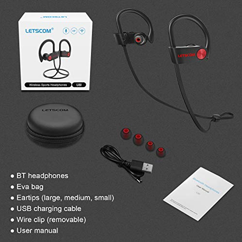 LETSCOM Bluetooth Headphones, IPX7 Waterproof Nano Coating Sports Earphones for Running, Wireless Earbuds with Mic, Noise Cancelling Headsets, HD Stereo, up to 8 Hours Work Time