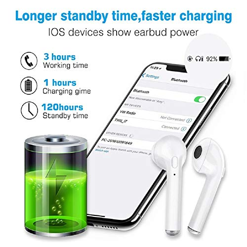TOPING Wireless Earbuds, Bluetooth Headphones with Mic Handsfree Sweatproof Mini in-Ear Sports Earphones Noise Cancelling Headsets with Charging Case
