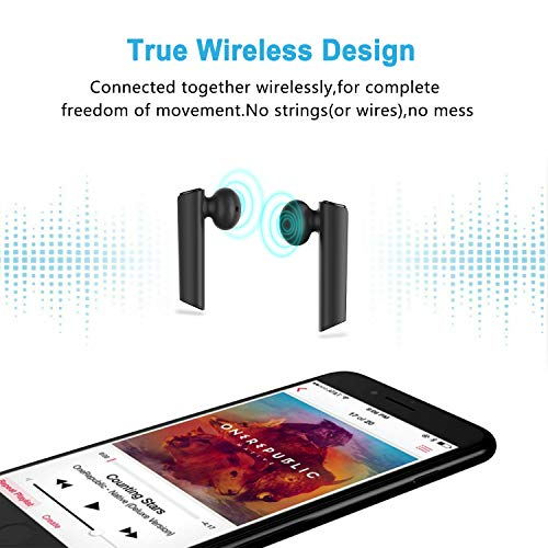 Wireless Earbuds Bluetooth 5.0 Headphones, Cshidworld True Wireless Stereo Earphones with 35Hrs Playback, Hi-fi Sound Bluetooth Headset with Charging Case, One-Step Pairing (Black)