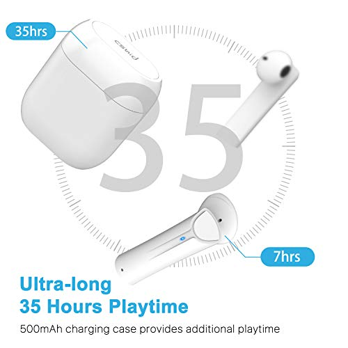 Wireless Earbuds Bluetooth 5.0 Headphones, Cshidworld True Wireless Stereo Earphones with 35Hrs Playback, Hi-fi Sound Bluetooth Headset with Charging Case, One-Step Pairing (White)