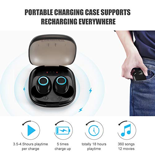 Wireless Earbuds,Foramor Bluetooth Headphones 18H Cycle Playtime Bluetooth 5.0 Auto Pairing True Wireless Earbuds Deep Bass Wireless Earphones with Charging Case (Black)