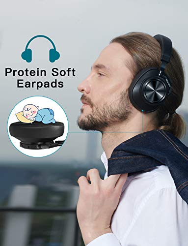 【2019 New Upgraded】 Bluedio T7 Bluetooth Headphones Custom Active Noise Canceling Over Ear, 57mm Driver Hi-Fi Stereo & 30Hrs Playtime, Wireless Headsets with Mic for PC/Cellphone/TV/Travel/Work