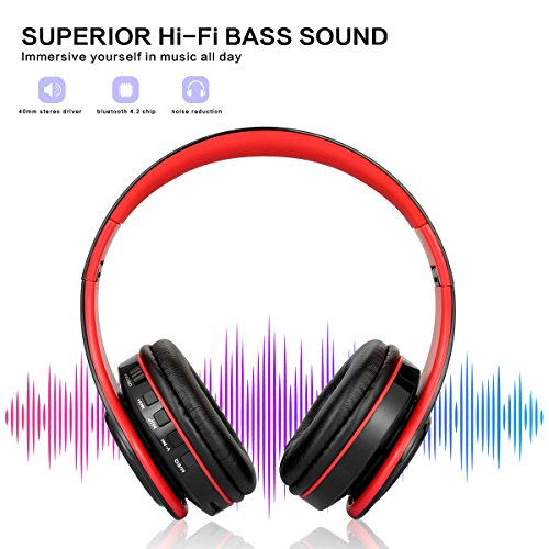 Bluetooth Headphones Over Ear, Dozod Wireless Foldable Hi-Fi Deep Bass Headset with Microphone and Wired Headphones Support SD/TF Card for Airplane Travel PC Cell Phones - Red