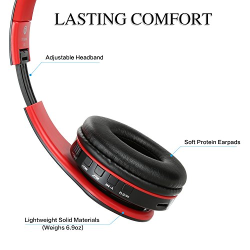 Bluetooth Headphones Over Ear, Dozod Wireless Foldable Hi-Fi Deep Bass Headset with Microphone and Wired Headphones Support SD/TF Card for Airplane Travel PC Cell Phones – Red