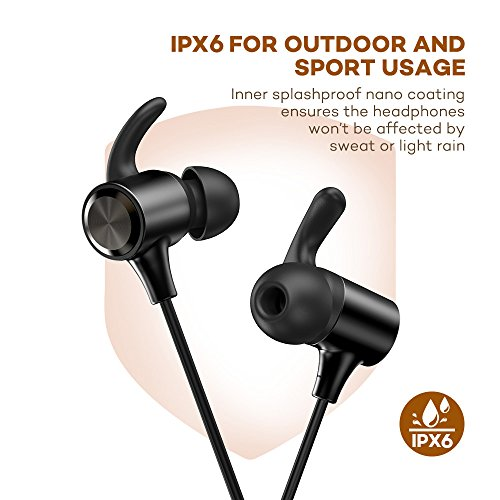 Bluetooth Headphones, Wireless Earphones : Bluetooth 4.2, IPX6, Magnetic, Noise Cancelling Mic, 9hrs Playtime Sport Earbuds APtX in Ear Sweatproof for Running, 025 BLACK-01