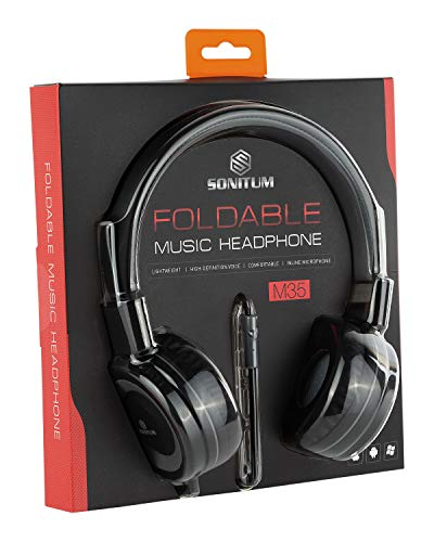 On-Ear Headphones with Microphone – Lightweight Folding Headset for Computer, Tablet Ipad Smart Phone MP3 Comfortable Adjustable fit Music bass | Tangle Free 1.5m Cord with 3.5mm Jack