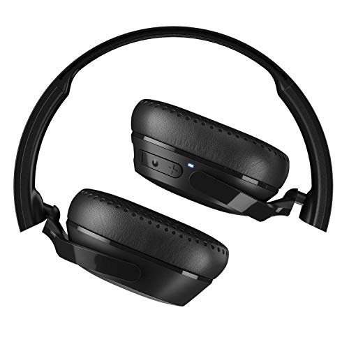 Skullcandy Riff Wireless On-Ear Headphones with Microphone, Bluetooth Wireless, Rapid Charge 12-Hour Battery Life, Foldable, Plush Ear Cushions with Durable Headband, Black (Renewed)