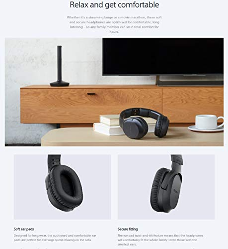 Sony Wireless RF Home Theater TV Headphones with Transmitter – 150-ft Wireless Range, Up to 20 Hours of Play Time (Black) & Zonoz Microfiber Cleaning Cloth Bundle