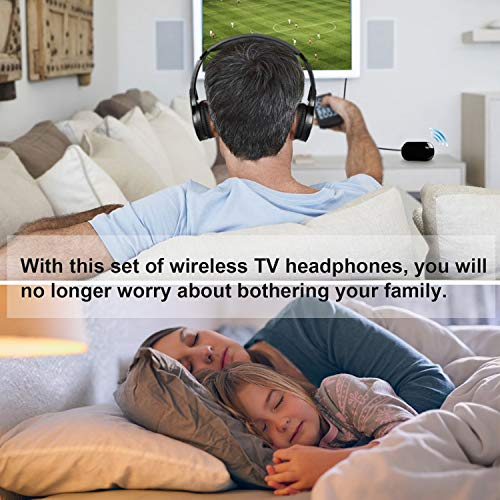 Wireless Headphones for TV, Jelly Comb TV Wireless Headphones with 3.5mm Audio-Out Jack and RCA Audio-Out for TV, Cell Phone, Laptop, Upgraded Auto Scan and Auto Sleep