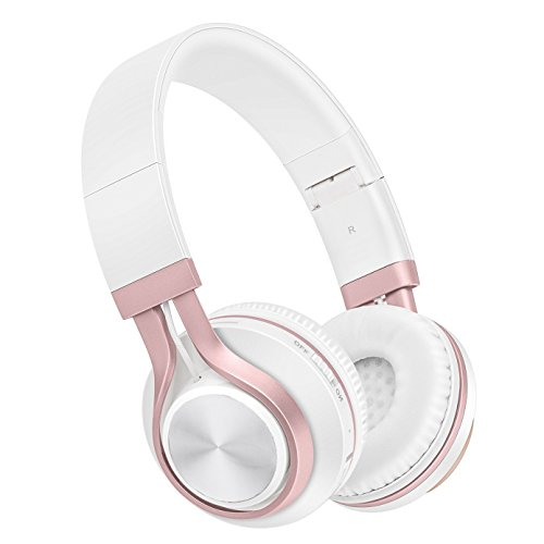Baseman Foldable Wireless Bluetooth Headphones V4.1 Over-Ear Hi-Fi Stereo Earphones Headsets with Microphone and Wired Mode (Pink)