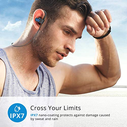 Mpow Flame Bluetooth Headphones Sport, IPX7 Sweatproof Sports Earphones/HD Stereo Sound w/Rich Bass/7-9 Hrs Play Time/w/Portable Case, Wireless Headphones Compatible for iPhone, Android, Blue