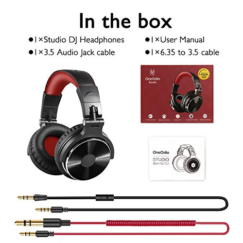 OneOdio Over Ear Headphone, Wired Bass Headsets with 50mm Driver, Foldable Lightweight Headphones with Shareport and Mic for Recording Monitoring Podcast Guitar PC TV – (Red)
