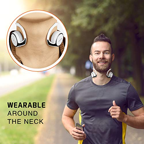 Small Bluetooth Headphones Wrap around Head – Sports Wireless Headset with Built in Microphone and Crystal-Clear Sound, Fold-able and Carried in the Purse, and 12-hour Battery Life, White