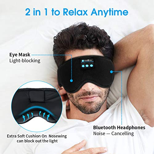 MUSICOZY Sleep Headphones, Bluetooth Sleep Mask Eye Mask with Headphones for Sleeping - Built-in HD Speakers and Microphone, Perfect for Travel, Sleeping, Meditation and Insomnia