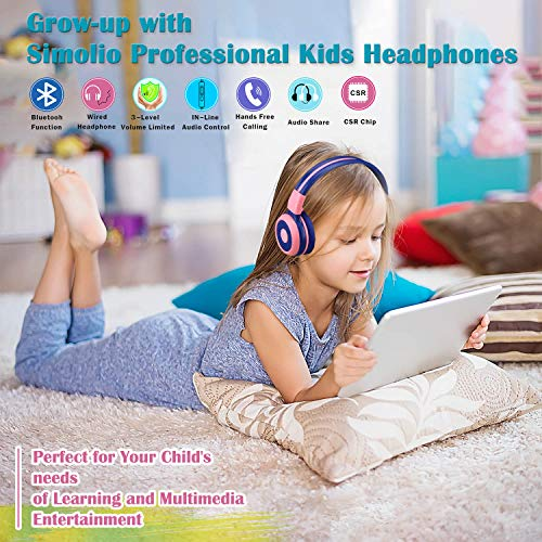 SIMOLIO Kids Headphones Bluetooth with 75dB,85dB,94dB Safe Volume for Hearing Protection, Wireless Headphone for Kids with Mic & Share,Foldable Kids Headset with In-Line Audio Control for Girls (Pink)