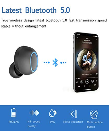 XEUMING Wireless Earbuds, True Bluetooth Headphones,Hi-Fi Stereo Sound, Bluetooth 5.0, Longer Battery time, Noise Cancelling, One-Step Pairing, Built-in Mic and Magnetic Inductive Chanrging
