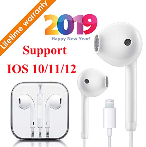 Kacul Lighting Earbuds Headphone Wired Earphones Headset with Volume Control, Compatible with iPhone Xs Max/XR/X/8/7 Plus/Plug and Play Camera Mounts