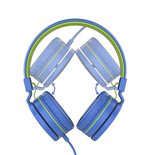 LORELEI L-01 Wied Kids Headphones Children Girls Boys Teens 85DB Volume Limiting with Mic and 3.5mm Socket Compatible Cellphone ipad comptuer MP3/4 (Blue-Green)